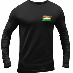 Big Salute India Flag Full Sleeve Black T Shirt
