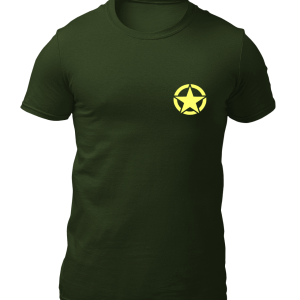 Big Salute Army Star Cotton T Shirt Olive Green