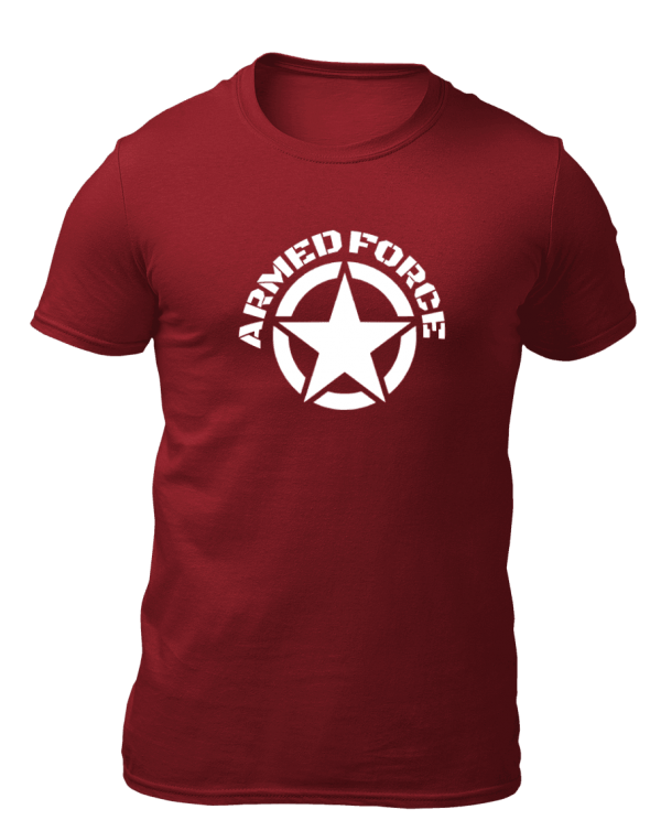 Big Salute Army Star Cotton T Shirt Maroon