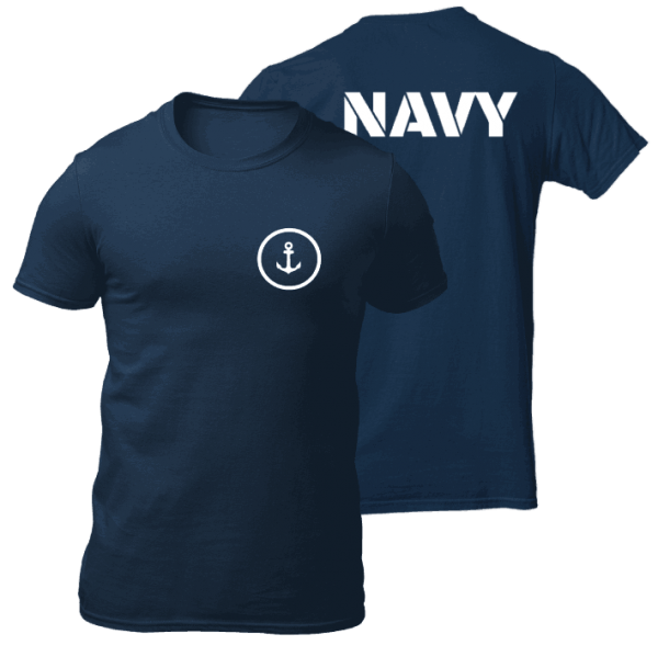 Big Salute Refuse To Sink Navy Blue T Shirt Front & Back