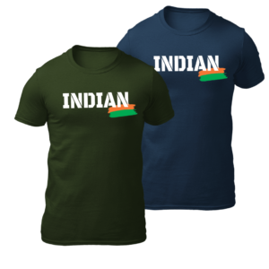 BIg Salute Indian Olive Green and Navy Blue Tshirt