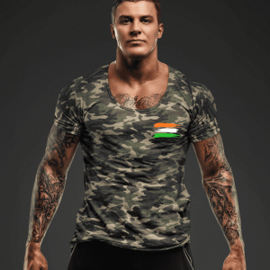 Big Salute Camouflage Half Sleeve T Shirt for army
